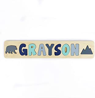 Personalized Wooden Name Puzzle With Bear and Mountain- Toddler Educational Learning Gift- Made in the USA