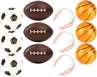 """12 Sports Themed 2.5"""" Stress Balls Squeeze Balls Foam for Stress Relief, Relaxation, Party Favor Toy, Gifts and Prizes (1 Dozen) Includes, Baseballs, Basketballs, Soccer Balls, and Footballs"""