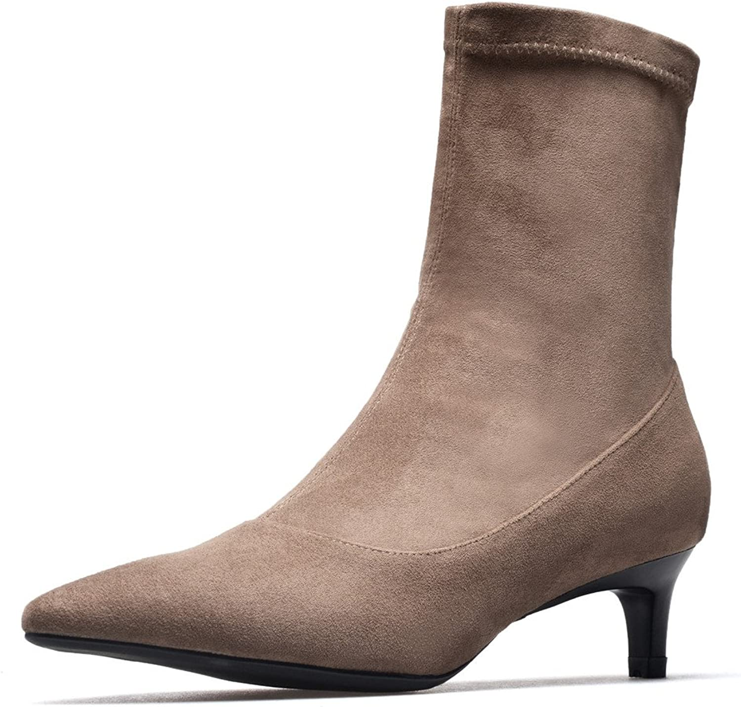 Nine Seven Suede Leather Women's Pointed Toe Stiletto Heel Fashion Sexy Handmade Ankle Booties
