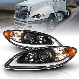 AmeriLite Black LED DRL Glow Bar Projector Headlights Pair for 2008-2016 International ProStar Replacement