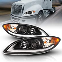 AmeriLite Black LED DRL Glow Bar Projector Headlights Pair for 2008-2016 International ProStar Replacement
