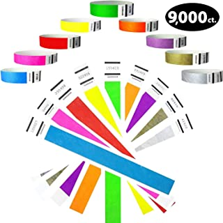 """Tyvek Wristbands- Goldistock Super Variety Pack 9,000 Ct - ¾"""" Arm Bands- Green, Blue, Red, Orange, Yellow, Pink, Purple, Gold & Silver- Paper-like Party Armbands- 9 Most Popular Wrist Bands for Events"""