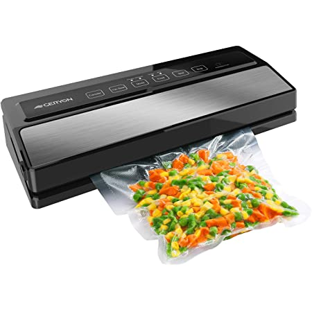GERYON Vacuum Sealer Machine, Automatic Food Sealer for Food Savers w/ Starter Kit Led Indicator Lights Easy to Clean Dry & Moist Food Modes  Compact Design (Silver)