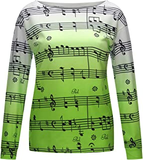 Futurelove Women Casual Hoodies Sweatshirt Tops Two Tone Music Note Print Drawstring Pullover