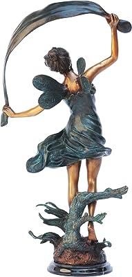 Design Toscano MP1432 Isadora la Fée Danseuse Statuette de Jardin, Bronze/Vert/Gris, 18 x 30.5 x 51 cm
