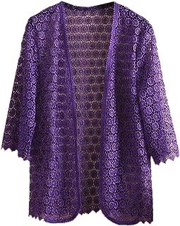 Women Sexy 3/4 Sleeve Open Front Lace Crochet Kimono Cardigans