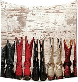Western Decor Collection American Legend Cowgirl Leather Boots Rustic Wild West Theme Cultural Folkart Print Bedroom Livin...