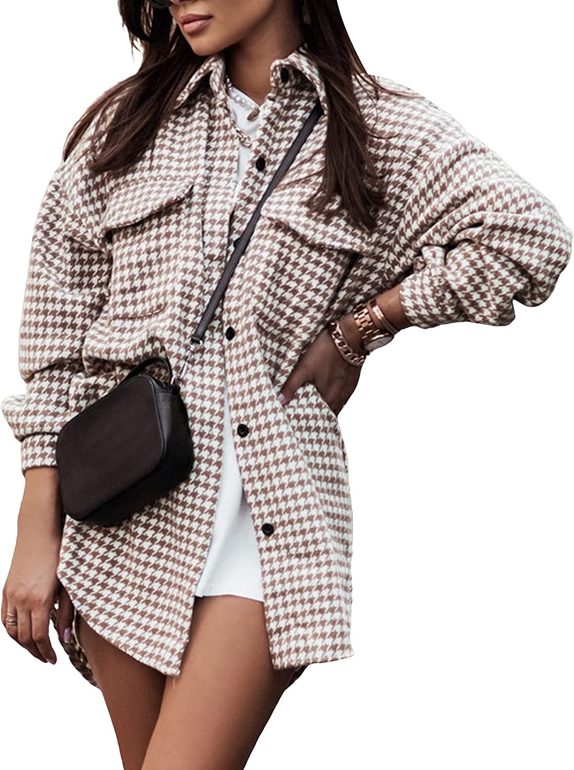 Women Casual Plaid Button Down Shirts Girls Long Sleeve Lapel Shacket Cardigan Loose Blouse Tops Outwear with Pocket