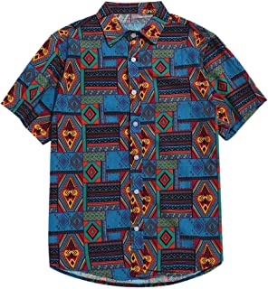 ZAFUL Men's Casual Ethnic Tribal Geometric Floral Paisley Print Short Sleeve Shirt