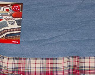 JC Penney Home Victory Plaid & Denim Blue Bedskirt Dust Ruffle Twin Bed Skirt