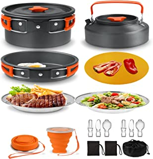 Camping Cookware Mess Kit 19 Pièces randonnée Backpacking Picnic Cuisson Bol Non