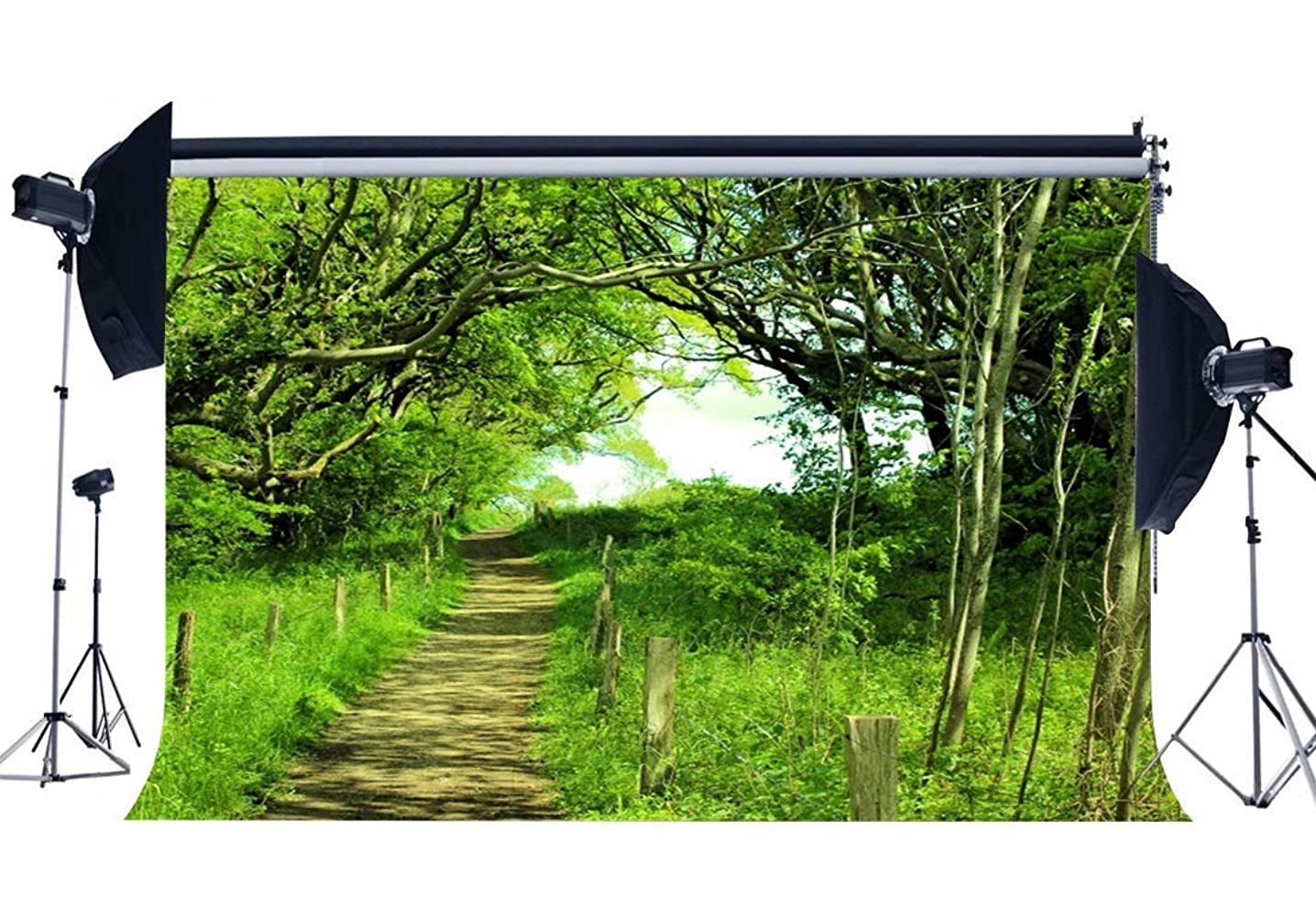 SZZWY Spring Backdrop 10X8FT Vinyl Rural Enchanted Jungle Forest Backdrops Trees Green Grass Meadow Dirt Road Path Wedding Photography Background for Picninc and Hiking Photo Studio Props QB149