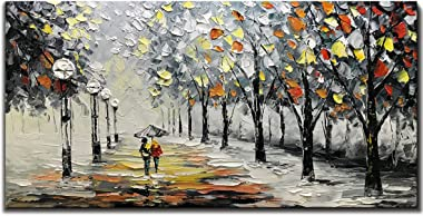 Yotree Paintings, 24x48 Inch Paintings Snowy Night Rainy Road Oil Hand Painting Painting 3D Hand-Painted On Canvas Abstract A