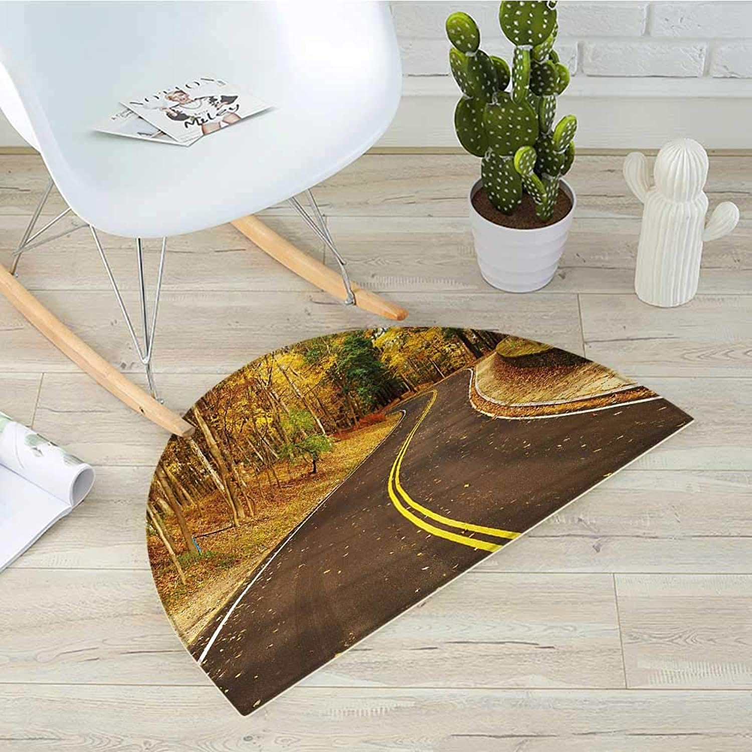 Fall Semicircle Doormat Autumn Scene with Curvy Road in The Forest at Letchworth State Park York City USA Halfmoon doormats H 43.3  xD 64.9  Multicolor