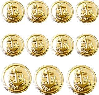 11 Pieces Metal Blazer Button Set - Naval Anchor Crest - for Blazer, Suits, Sport Coat, Uniform, Jacket (Gold)