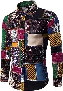 Men's Print Plaid Tee Tops Plus Size Casual Long Sleeve Slim Fit Business Shirt Blouse