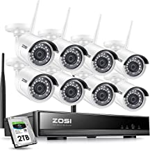 ZOSI 8CH Security Wireless Cameras System, 8Channel 1080P WiFi NVR and 8Pcs 2.0MP Security Ip Cameras Kit & 2TB hard drive - Smartphone Easy Remote Viewing Weatherproof 24/7 Reocrding Support