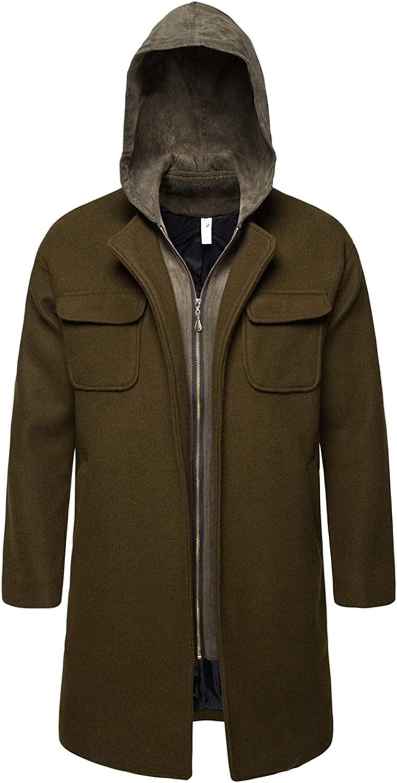 Allonly Men's Fake Two Pieces Hoodie Lapel Solid Color Wool Blend Pea Coat Warm Winter Coat Trechcoat