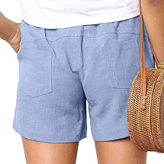 Summer Ladies Shorts Loose Casual Solid Color Cotton Linen Pockets Bandage Elastic Waist