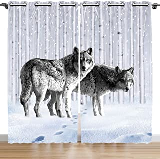 SXCHEN Blackout Curtains 2 Panels Grommet Curtains for Bedroom White Snow Gray Wolf W28 x L48 Inch