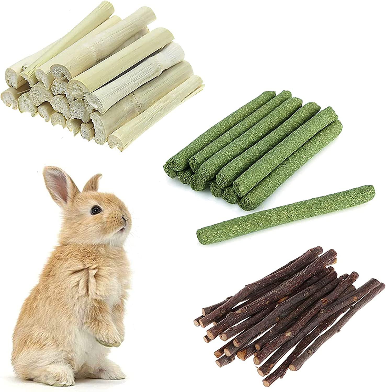 sharllen Chew Toys Molar Sticks Animals Cleaning Teeth Natural Apple Timothy Hay Sweet Bamboo Sticks 3 Types of Combined Wood Toys Squirrel Rabbit Chinchilla Guinea Pig Hamster Gerbil Parrot