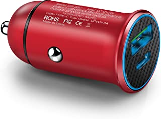 Car Charger USB C, Aupek USB-A Quick Charge Car Adapter Type C Power Delivery Mini Car Charging USB Dual Ports Compatible Samsung Galaxy S7 S6 Edge iPhone Xs Max XR X 8Plus Android Phones -Red