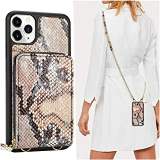 JLFCH iPhone 11 Pro Max Wallet Case, iPhone 11 Pro Max Crossbody Case with Zipper Card Slot Holder Wrist Strap Lanyard Protective Cover Women Girl Purse for iPhone 11 Pro Max - Snake Grain Khaki