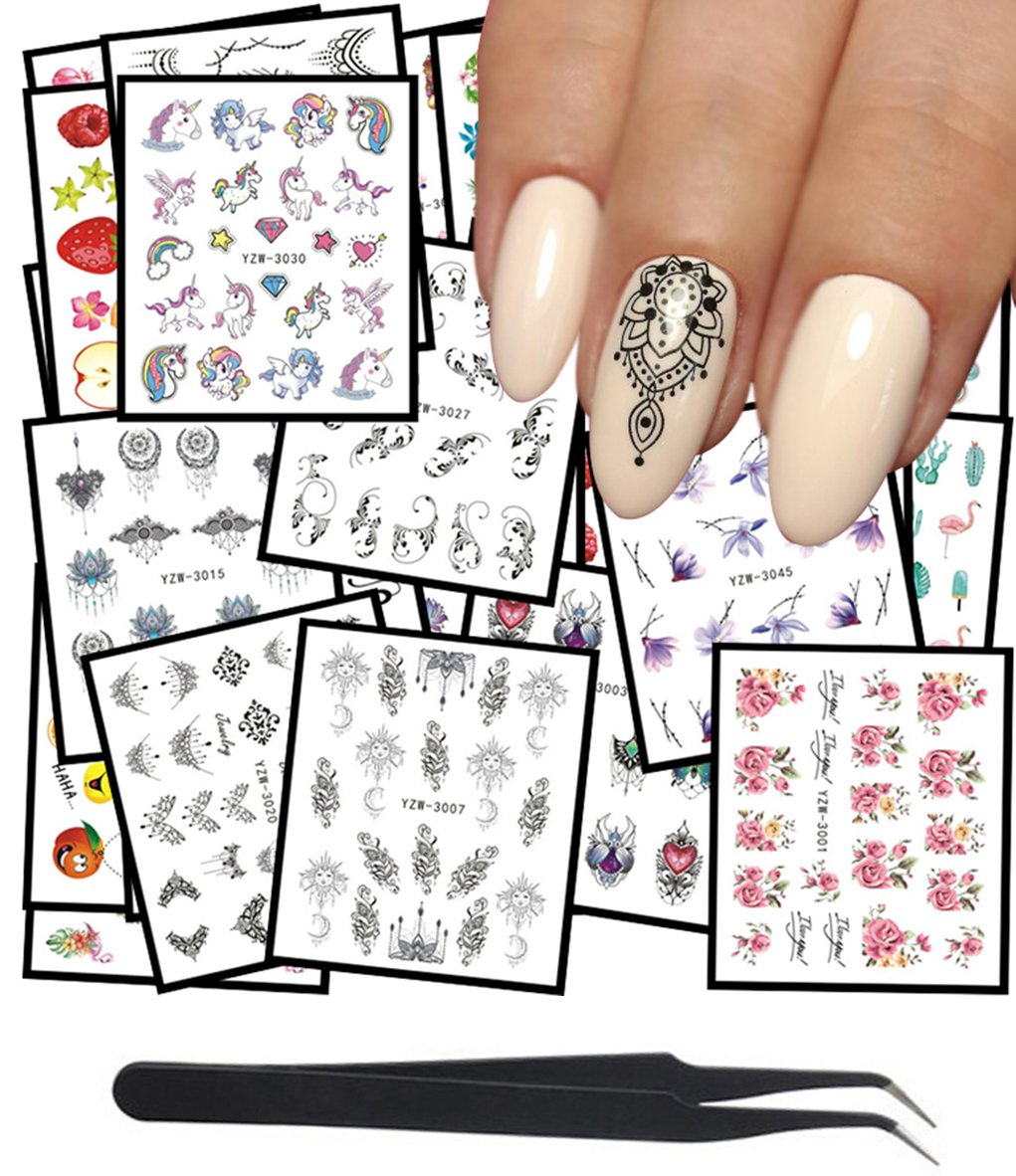 WOKOTO Recommended 48Pcs Nail Water Decals Lace Car Today's only Butterfly Flower Feather