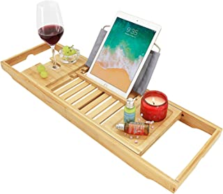 BonusAll Bathtub Caddy Tray Bamboo Adjustable Organizer Tray One Or Two Person Bath Tray Cellphone Tray and Wine Glass Holder