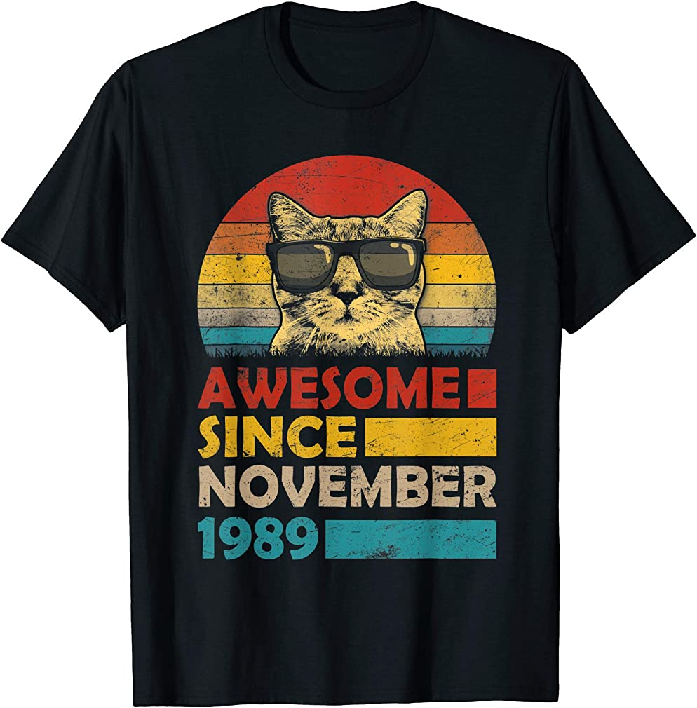 Awesome Since November 1989 30th Birthday Gift Cat T-shirt