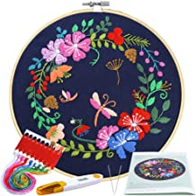 Caydo Full Range Embroidery Starter Kit with Pattern, Cross Stitch Kit for Beginners Including Embroidery Cloth with Botanical Garden Pattern, Bamboo Embroidery Hoop, Color Threads and Tools