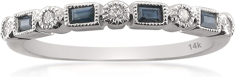 1/4 Carat Diamond, Bezel-Set 14kt White Gold Round & Baguette Diamond & Blue Sapphire Bridal Wedding Band Ring (I-J, SI2-I1) by La4ve Diamonds | Real Diamond Wedding Band For Women | Gift Box Included