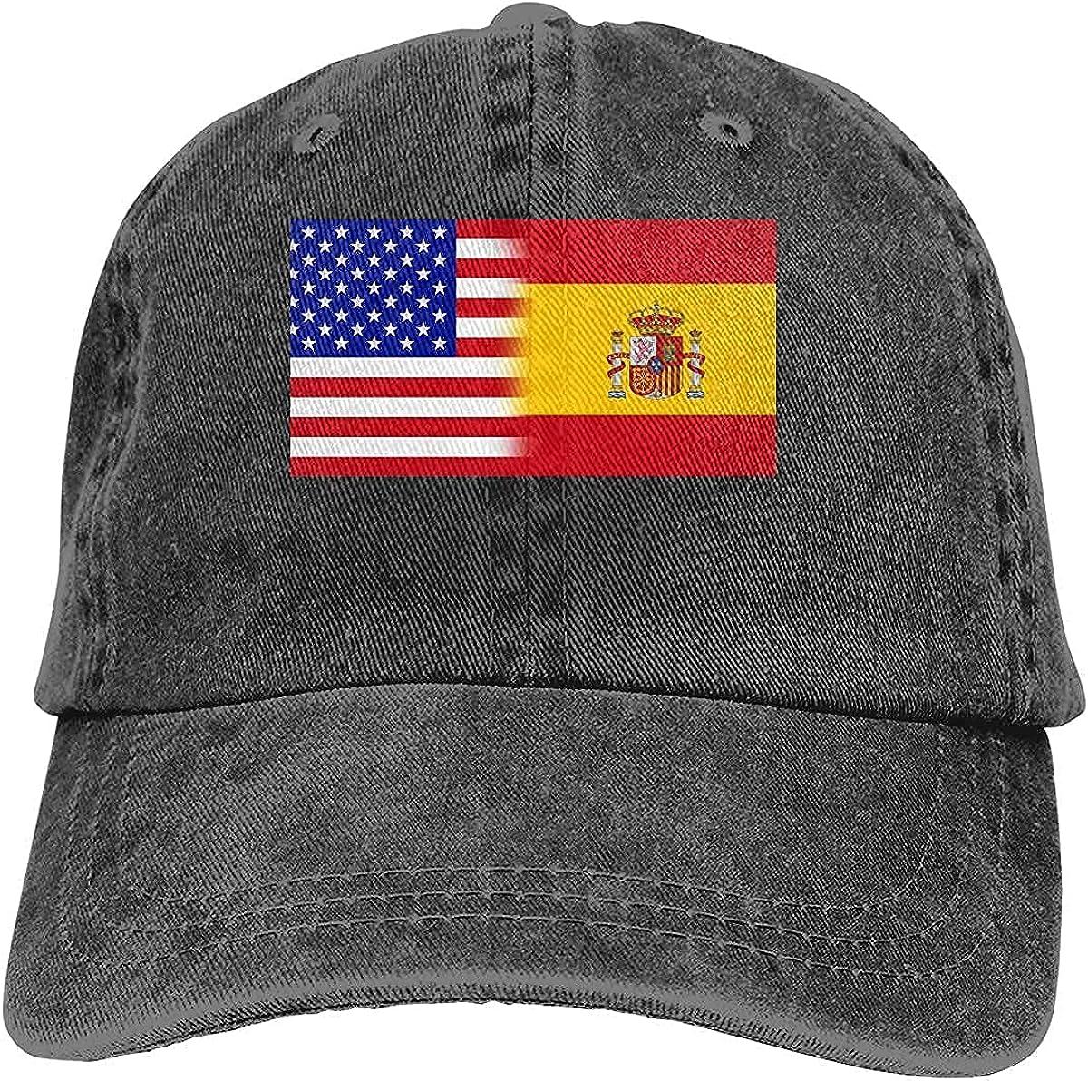 Mixed USA Spain Flag Baseball Cap, Adjustable Size Dad Hat, Vintage Baseball Hats for Men Woman
