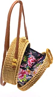 Happy Lily Women Handwoven Round Rattan Bag, Round Woven Straw Bag, Round Purse, Circle Tropical Beach Crossbody Bag with Cotton Fabric Inside and Cross Clasp (black linging)