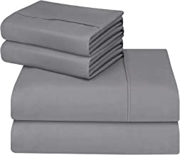 Utopia Bedding 4 Piece Bed Sheet Set - Brushed Microfibre Flat Sheet, Fitted Sheet with Pillowcases (Double, Grey)