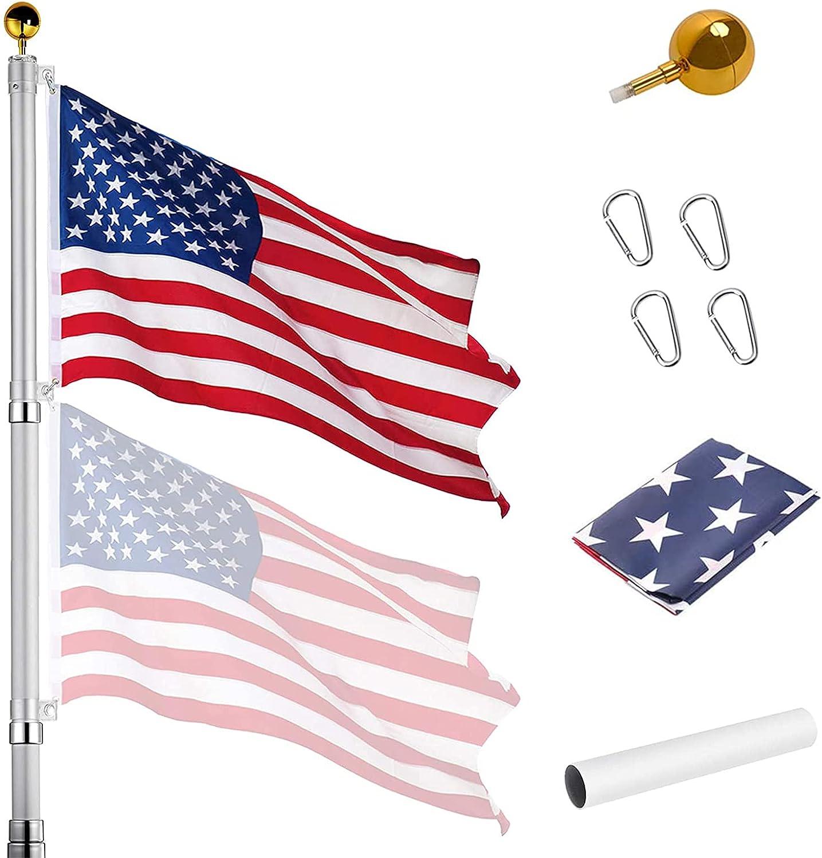 Wlretmci 20FT Telescoping Flag Pole Kit Aluminum Elegant Max 60% OFF Thick Extra Te