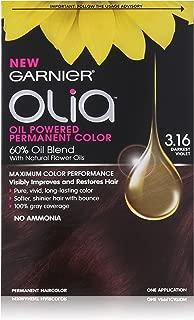 Garnier Olia Oil Powered Permanent Haircolor, 3.16 Darkest Violet (Packaging May Vary)