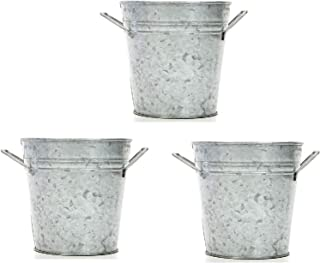 Hosley Set of 3, 5'' High Galvanized Plantesrs/Buckets w/Handles. Ideal for Party, Wedding, Country, Picnic Caddy, Serve W...