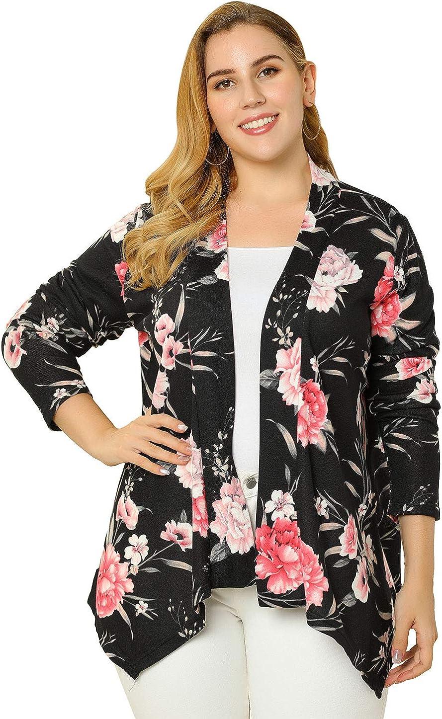 uxcell Womens Plus Size Print Asymmetric Open Front Fashion Cardigan