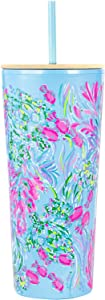Lilly Pulitzer Pink/Blue Double Wall Tumbler with Lid and Reusable Straw, Insulated Travel Cup Holds 24 Ounces, Best Fishes