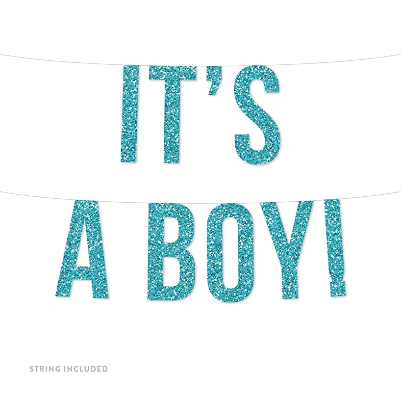 Andaz Press Real Glitter Paper Pennant Hanging Banner, It's a Boy!, Baby Blue Glitter, Includes String, Pre-Strung, No Assembly Required, 1-Set