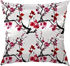 Moslion Cherry Pillow Cover Decorative Throw Pillow Case Japanese Cherry Blossom Satin Square Cushion Cover Standard Pillow Cases for Women Girls Kids Home Sofa Bedroom Livingroom 18x18,Red Pink