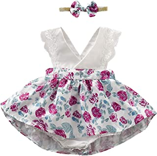 Toddler Baby Girl Floral Dress Lace Ruffle Sleeve Clothes Romper with Headband 2Pcs Outfit