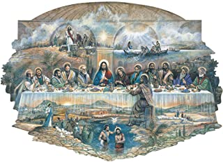 Bits and Pieces - 300 Piece Shaped Jigsaw Puzzle for Adults - The Last Supper - 300 pc Religious Jigsaw by Artist Ruane Manning