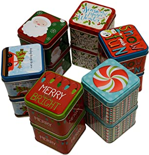 Christmas Extra Small Gift Boxes Tin Money Holder with Holiday Designs and Sayings, Cube Tins for Gift Giving Cash on Xmas (Set of 12)