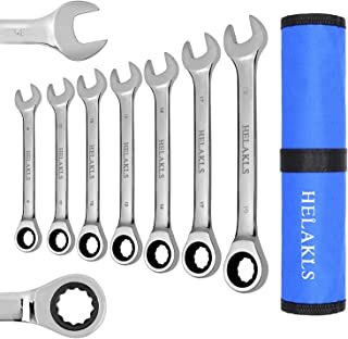 HELAKLS 7 Piece 8mm-19mm Ratcheting Wrench Set Metric Full Polished 12-Point Box End Combination Spanner Gear Wrench Garage Tool Set for Mechanics