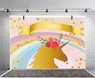 Leyiyi 5x3ft Photography Background Golden Unicorn Name Added Star Rainbow Flowers Baby Shower Girls Birthday Party Backdrop Banquet Home Interior Deco Photo Portrait Vinyl Studio Video Shooting Prop