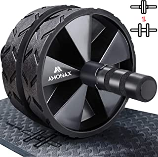 Amonax - Rodillera convertible para abdominales (con alfombrilla de rodilla) Juego de ruedas dobles con modos de entrenamiento de fuerza de fitness dual en el gimnasio o el hogar