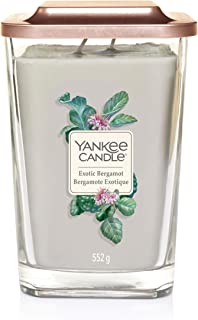 Yankee Candle Elevation Collection with Platform Lid Large 2-Wick Square Scented Candle, Exotic Bergamont