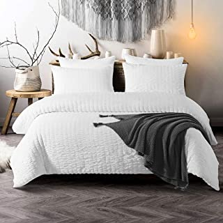 TanNicoor Seersucker Duvet Cover Set White,Luxury Washed Cotton Comforter Quilt Bedding Covers with Zipper and Corner Ties - Ultra-Soft & Hypoallergenic(3 Piece King)